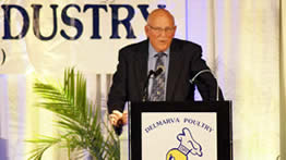 Clark White, a past Delmarva Poultry Industry, Inc. president and a leading historian for Delmarva's chicken community, received the J. Frank Gordy, Sr. Delmarva Distinguished Citizen Award at DPI's Booster Banquet in Salisbury, Md., April 16, 2019.